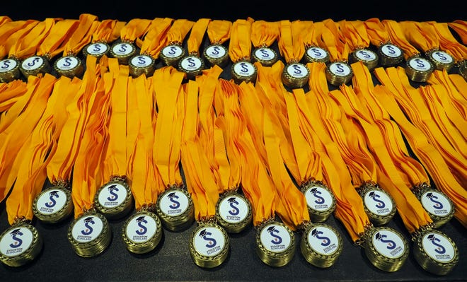 Stockton Scholar medals given out during the third annual Stockton Scholars Signing Day held May 3, 2019, in the Bob Hope Theatre.