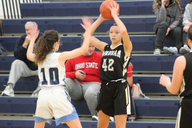 Zahra Cunningham looks to pass against Rootstown last season.