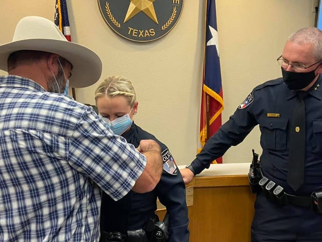 Stephenville PD recently held a swearing in for its newest officer, Taylor Morrison. Officer Morrison's badge was pinned on by her father. She previously served as a police officer in Reno, Nevada and the Dallas Police Department.