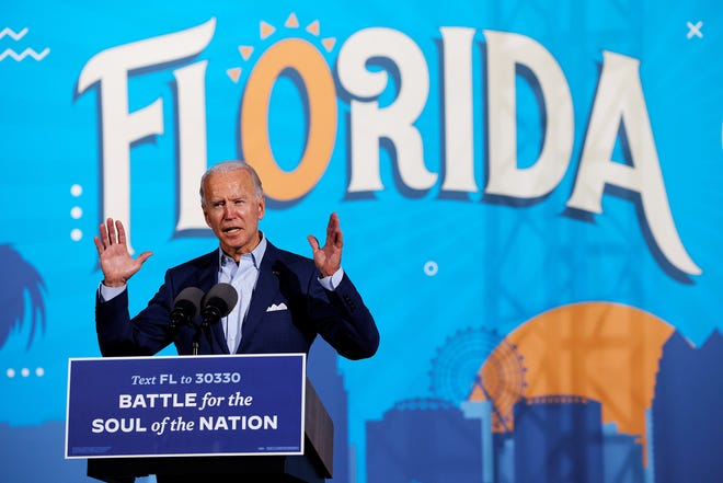 President-elect Joe Biden, seen here campaigning in Tampa last month, may bring some Floridians into his administration. But he also could be tested by the state's ruling Republican leaders.