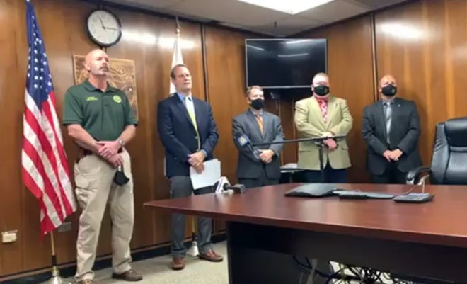 The Pender County Sheriff's Office and District Attorney Ben David held a press conference on the triple homicide in Maple Hill on Thursday morning.