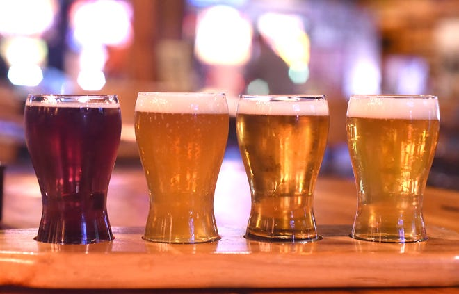 A beer flight with selections from Bill's Brewing Co.,  4238 Market St. in Wilmington. [KEN BLEVINS/STARNEWS]