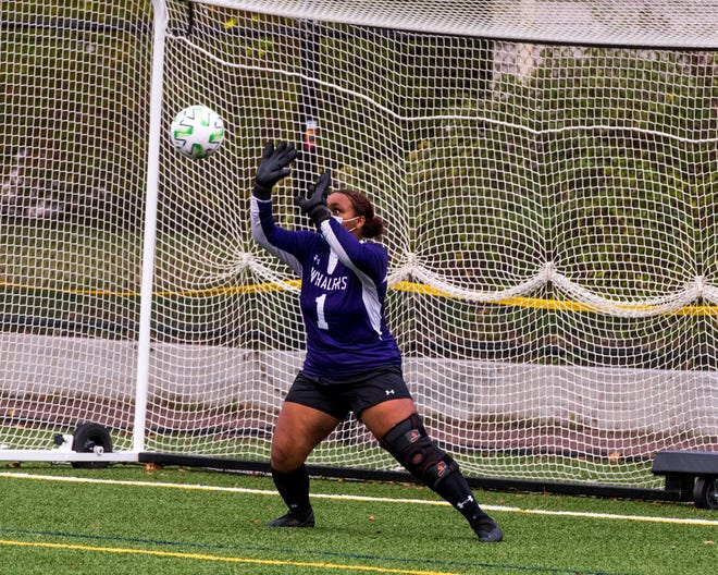 Avree Roderick makes the save for New Bedford.