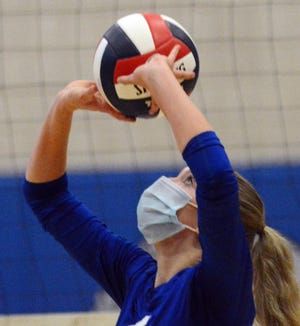 Bacon Academy's Kiera Stewart sets the ball during a match against Lyman Memorial earlier this season.