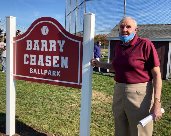 "Longtime Windsor High baseball coach Barry Chasen was honored Saturday, as the ballfield there was named in his honor. Chasen, 72, won over 400 games and two state titles between 1976 and 2003. ""I'll always live by this philosophy and tried to impart it to the kids,"" Chasen said. ""'Are you a better player today than you were yesterday? And more important, are you a better person than you were yesterday?' To me, that's what it was all about."""