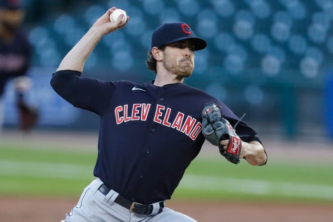 Indians right-hander Shane Bieber pitches during the first inning against the Tigers in September.