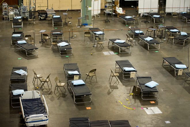 The convention hall at the DCU Center in Worcester was set up as a field hospital in the spring.