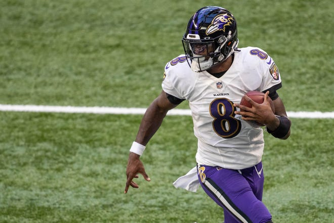 Like Patriots quarterback Cam Newton, the Ravens' Lamar Jackson is always a threat to take off with the ball.