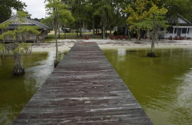 This photo from 2017, shows the pier at the former Lasley's Motel on White Lake. The motel has closed. The lake has had problems with algae growth in recent years.