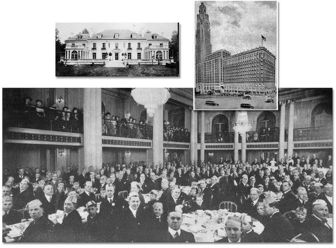 """The fathers-and-sons banquet for residents of Grandview Heights, Marble Cliff and Upper Arlington was held annually at the Deshler Hotel. This 1921 photo shows the fathers and their sons having dinner in the hotel ballroom while the mothers and the daughters were allowed to view the event over the railing from the balcony. According to the April 1921 Norwester, """"In view of the youth of many of the sons, smoking was abstained from, but in spite of this (it) was a huge success."""" The Deshler Hotel (inset right) was built in 1916 at Broad and High streets in downtown Columbus. It later was owned by Dr. Adrian """"Doc"""" Wallick and his brother. Wallick was a dentist and lived with his family in the former Sheldon Mansion in Marble Cliff (inset left). The Deshler was joined to the American Insurance Citadel (Leveque Tower) in 1927 by a bridge, called the Venetian Bridge, to allow hotel guests to access the 600 rooms of the Deshler that were in the new skyscraper. The Ionian Room in the Deshler was a popular restaurant and lounge throughout the 1930s, and it was the home of the Crystal Room restaurant and Gray Drug."""