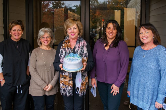 NVNA and Hospice's private, pay, non-profit agency, NVNA WORKS, is celebrating their 10 year anniversary in November. Pictured are Jeannine Donato, of Scituate; Diane Burke, of Norwell; Christine McDonough, of Weymouth; Karen Maschio, of Marshfield; and Leigh Drake, of Marshfield.