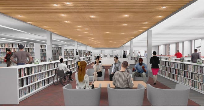 A drawing of the Adult Services section of the new Medford Public Library.