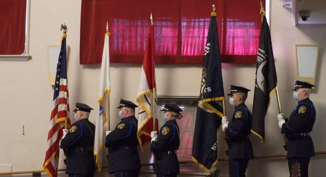 A color guard participated in a pre-recorded ceremony for Hingham's 2020 Veterans Day celebration, which aired on Harbor Media instead of being held in person because of the pandemic.