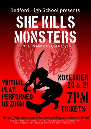 """She Kills Monsters: Virtual Realms"" poster design by Cynthia Li '22."