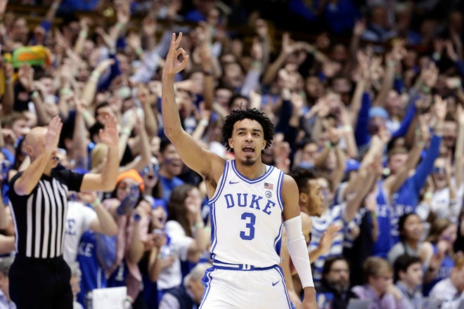 """Duke guard Tre Jones has been projected to go anywhere from a first-roundlottery pick to the second round in the NBA Draft.Duke coach MikeKrzyzewski called Jones """"the best point guard in the (2020) draft."""""""