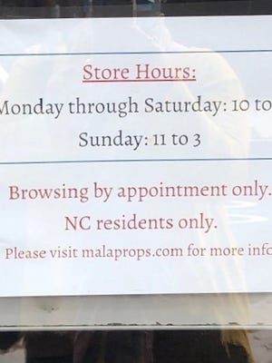 Malaprop's bookstore in downtown Asheville has put in place a policy limiting customers to North Carolina residents only. The idea is to protect staff as much as possible during the pandemic, an assistant manager says.