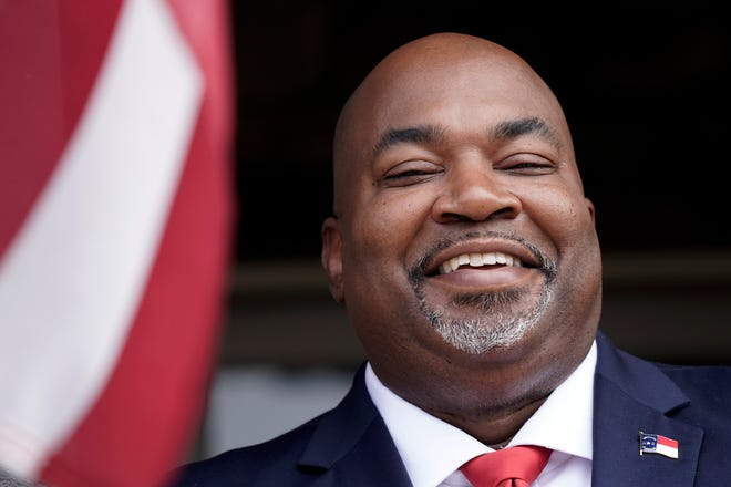 North Carolina Lt. Gov-elect Mark Robinson is shown at his home in Colfax, N.C., Tuesday, Nov. 10, 2020. Robinson will serve as North Carolina's first Black lieutenant governor. He hopes he can work with Democratic Gov. Roy Cooper and state lawmakers on veterans-related issues.