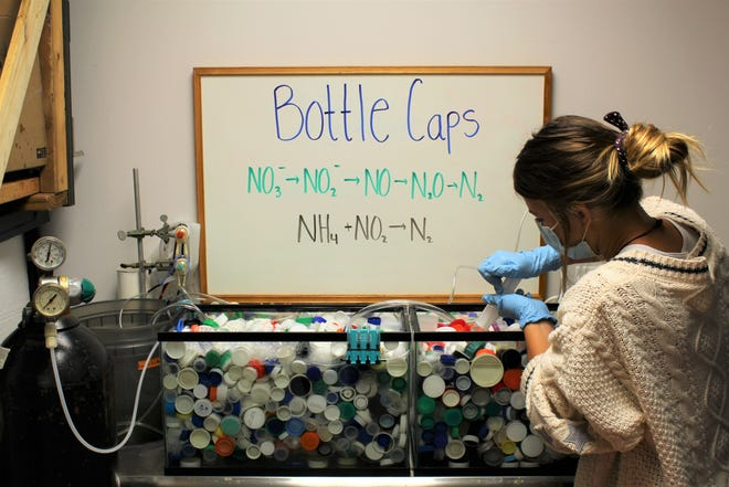 Abbey Gering, a graduate student at Florida Institute of Technology, samples water from a tank filled with bottle caps. Researchers at FIT plan to put the plastic caps in contained mesh sack treatment systems to help foster conditions to maximize bacteria's ability to remove excess nitrogen from the Indian River Lagoon.