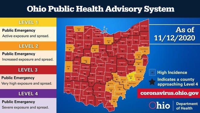 Ohio COVID-19 Public Health Advisory System, Nov. 12, 2020