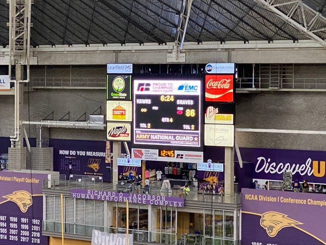 The UNI-Dome scoreboard displayed the infinity sign after Remsen St. Mary's surpassed 100 points Thursday during Iowa's 8-Player state semifinals. T