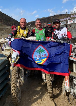 Team Guam won the Dubya World Vet Cup of Nations at Glen Helen Raceway in San Bernadino, California. From left: Mike Brown; Doug Dubach; and Sean Lipanovich.