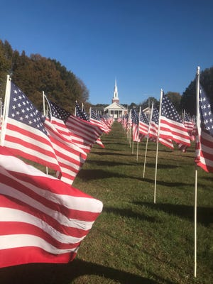 The Jackson Exchange Club planted 953 American flags on the front lawn of First Cumberland Presbyterian Church on the Keith Short Bypass in Jackson to honor veterans, first responders and victims of child abuse.