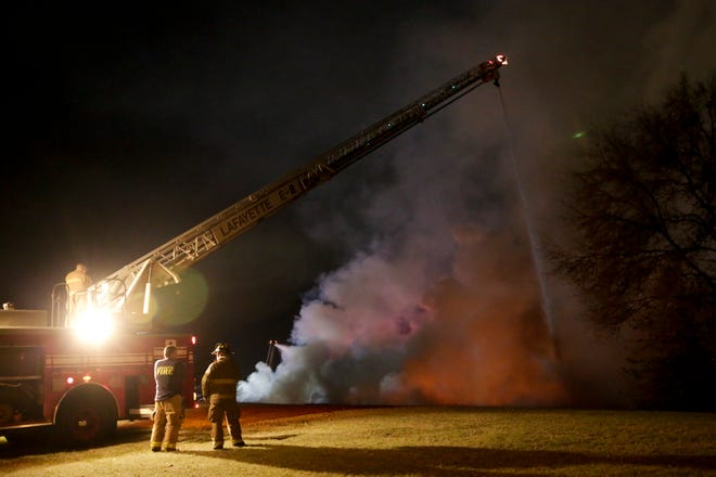 The Lafayette Fire Department works the scene of a fire at Simply Self Storage, 4900 Tazer Drive, Thursday, Nov. 12, 2020 in Lafayette.