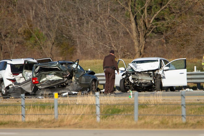 A multiple-vehicle crash on northbound U.S.-23 just south of Center Road on Thursday, Nov. 12, 2020. The license plate of one of the vehicles has been pixilated to respect the privacy of those involved.