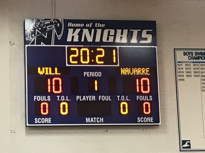 As part of signing day at Nicolet, the school honored James Graham, Kobe Johnson and Will Navarre by putting their name, jersey number and graduation year on the scoreboard in the gym inside Nicolet High School in Glendale, Wis. on Wednesday Nov. 11, 2020.