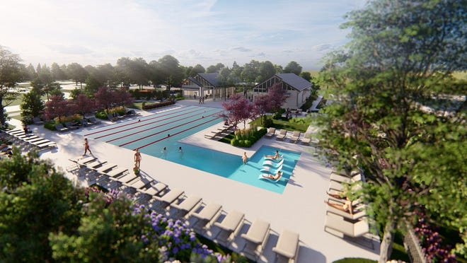 Renderings show the new pool and other amenities at Westhaven. They also include a state-of-the-art fitness center.