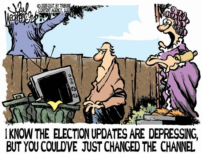 Election updates on TV.
