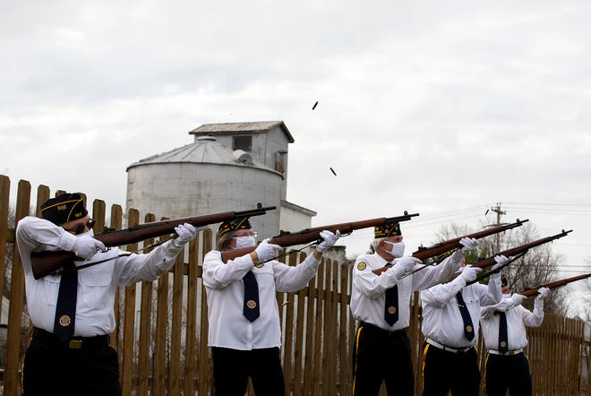 A 21-gun salute is fired during a Veterans Day ceremony in Pataskala on Nov. 11.