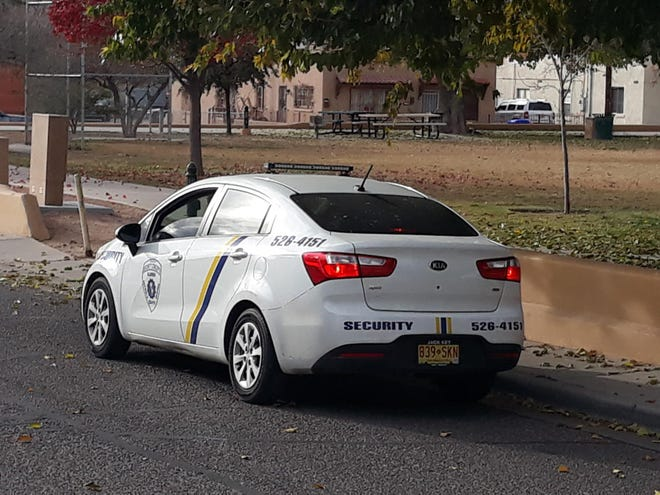 A car from Security Concepts Inc., a private security company in Las Cruces, patrols Klein Park on Nov. 12, 2020 to help with COVID-19 guideline compliance.