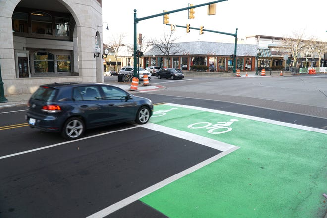 Main Street in downtown Plymouth shows its designated bike lanes.