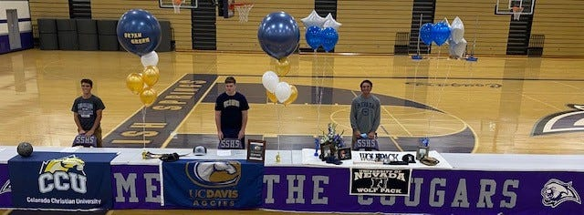 Spanish Springs had three athletes sign for college on Thursday: Jace Avina (baseball)  Nevada;  Bryan Green (baseball) UC  Davis  and Lucca Casci (soccer) Colorado Christian University.