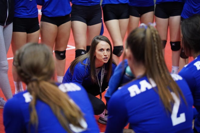 Stevens volleyball coach Kylie Voorhees addresses her team during a timeout at the 2019 Class AA state volleyball tournament in Rapid City.
