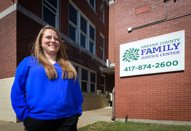 "Jamie Willis, project coordinator, Greene County Family Justice Center in Springfield, Missouri. The center, located in an old school, offers ""one-stop"" services for victims of domestic violence. Springfield consistently has the highest rate of domestic violence incidents in Missouri."
