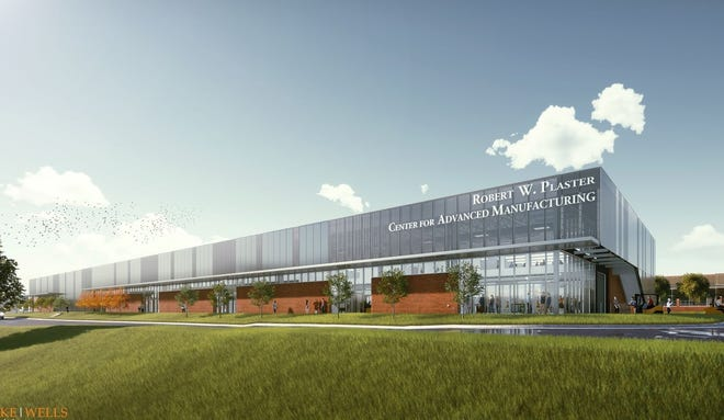 An artist rendering of the Robert W. Plaster Center for Advanced Manufacturing  on the campus of Ozarks Technical Community College.
