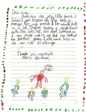 The letters sent in to Operation Santa tug at the heartstrings.