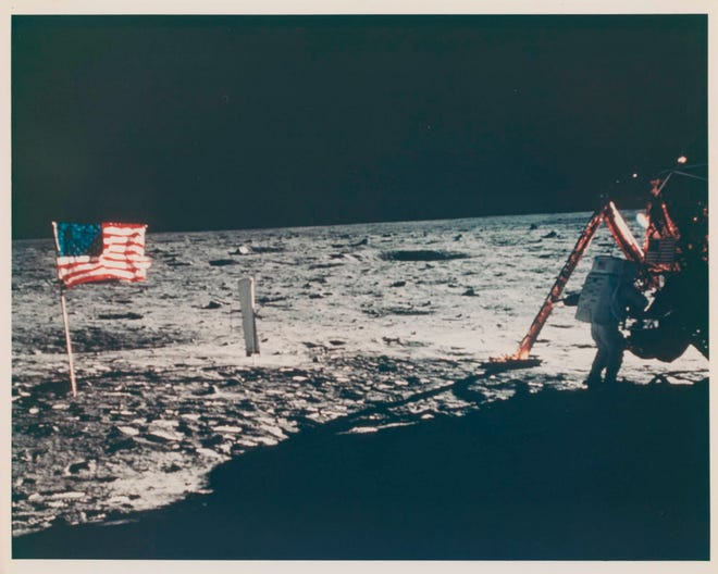 The only photo ever taken of Neil Armstrong's moonwalk, captured by Buzz Aldrin.