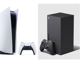 Game system competitors Sony PlayStation 5 on the left, Microsoft's Xbox Series X on right. (Composite image made from Sony and Microsoft handouts)