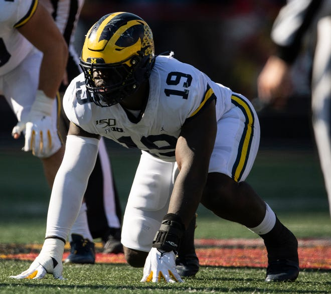 Former Hendricken All-Stater Kwity Paye earned second-team All-Big 10 honors this fall with Michigan.