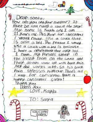 Children often write into Operation Santa asking for needs for others, such as their parents.