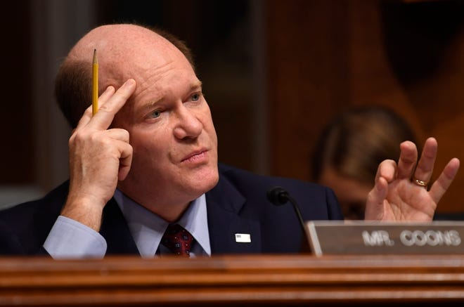 Sen. Chris Coons, D-Delaware, pictured here in a file photo, a member of the Senate Judiciary Committee, questioned President Joe Biden's nominee for attorney general, Judge Merrick Garland, on Feb. 22.