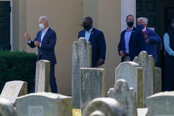 President-elect Joe Biden leaves after Mass at St. Joseph on the Brandywine Catholic Church, Sunday, Nov. 8, in Wilmington, Del.