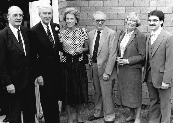 The tall fellow standing second from left is Jimmy Stewart, a Hollywood actor of some renown who returned to his hometown of Indiana, Pa., in 1983 for a celebration of his 75th birthday and statue unveiling. The guy with the caterpillar mustache at far right is Jimmy Pane, a young reporter who helped cover the event for the local newspaper. Also pictured are Joe and Lucy Donnelly, third and second from right, editor and publisher of The Indiana Gazette; Frank Hood, far left, associate editor; and Stewart's wife, Gloria, third from left.