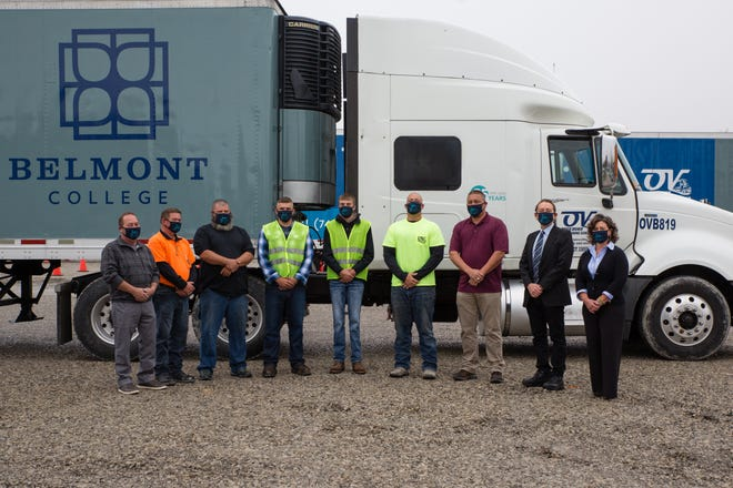 Pictured, l to r, are Tim Bailey, General Manager OV Truck Driver Training; Marvin Rutherford, Training Manager; Truck Driving Academy Students: William Youngs, Nick McEndree, and Jared Lucas; Robby Williams - Truck Driving Academy Instructor, Scott Richards Truck Driving Academy Instructor, Dr. Paul Gasparro, Belmont College President; Melissa Rataiczak, Belmont College Director of Workforce Development and Advancement.