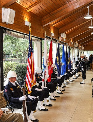 The Sun City Veterans Association Color Guard presented the colors at the annual Veterans Day celebration.