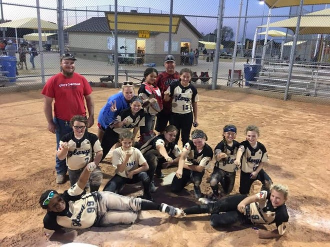 Sheffield's 10U Glory took the championship at Glove Hunters Tournament held at Bert Massey Sports Complex over the weekend. Bottom Left to Right: Brenda Allen & Corinne Sheffield. Middle Row: Adysn Atchley, Gabrelle Volz, Jordan Johns, Kynley Martin, Reagan Fletcher & Jaime Lyon. Back Row: Assistant Coach Bob Atchley, Head Coach Amanda Sheffield, Racy Pruett, Amarrea Thomas, Assistant Coach David Sheffield & Aleeya McCombs.