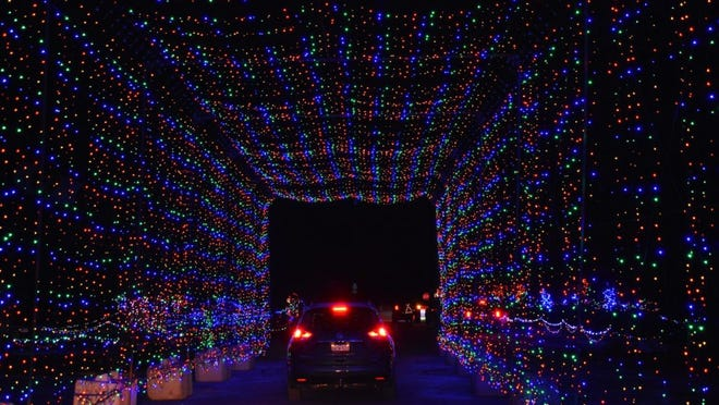 Magic of Lights drive-thru holiday experience at Gillette Stadium.